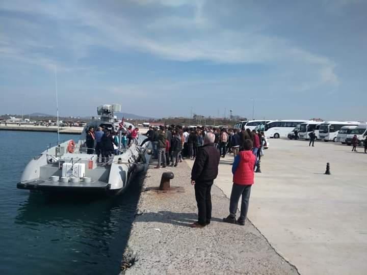 İlk Milli Gemi Enez'de öğrencilere ve halka tanıtıldı